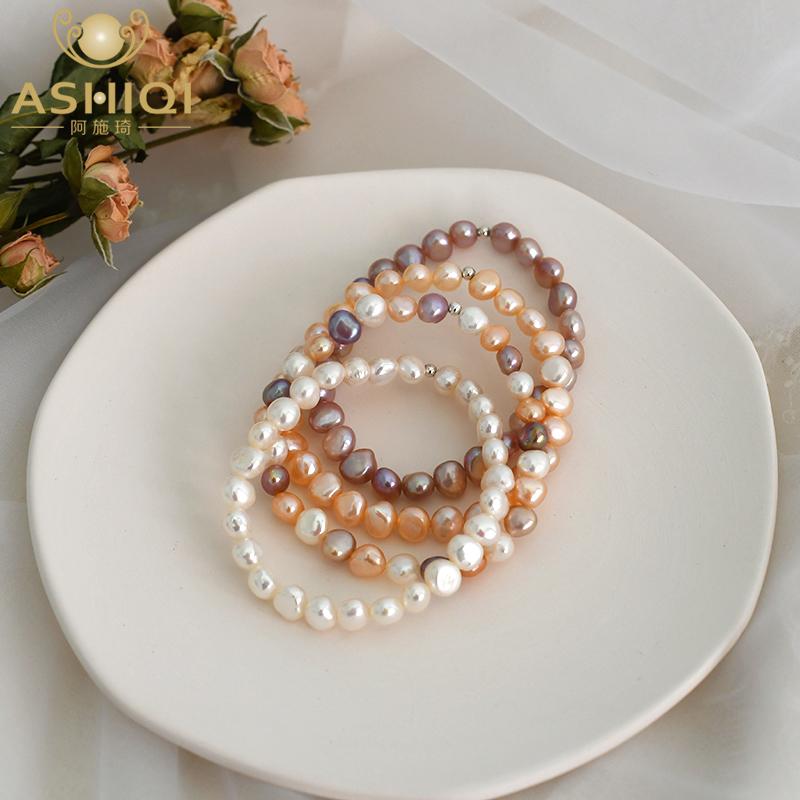 纯回馈!天然淡水珍珠手链异形巴洛克复古风ins小众手串925银珠
