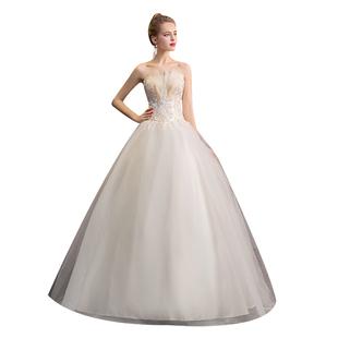 婚紗2020新款拖尾氣質森系法式抹胸新娘女顯瘦簡約結婚裙出門紗輕