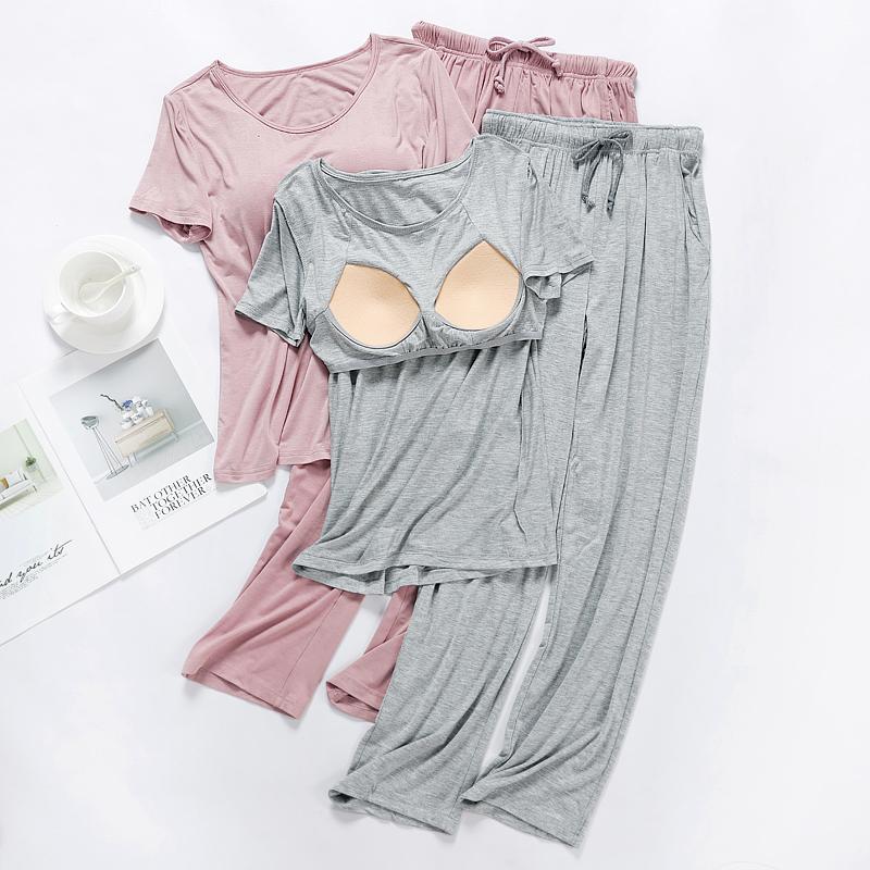 莫代尔带胸垫女春夏秋短袖夏季睡衣
