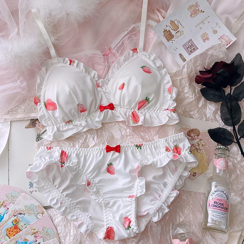 日系软妹少女可爱草莓内衣性感纯欲薄款无钢圈三角杯文胸套装