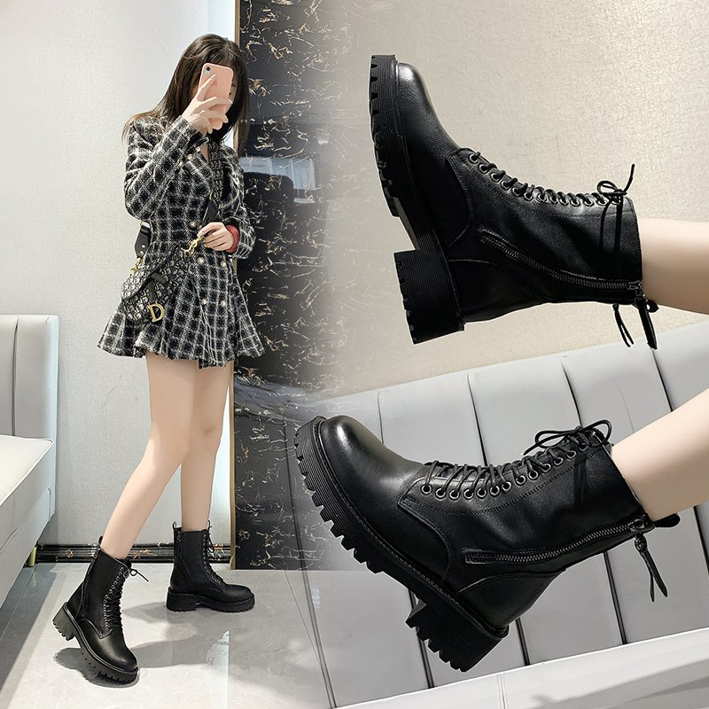 Martin boots womens new popular fall / winter 2020 British style boots plush leather mid tube skinny boots