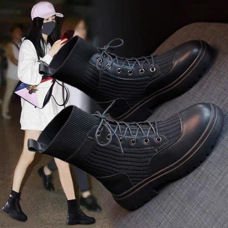 Versatile and handsome black Martin boots 2020 new womens autumn single British short boots childrens autumn Chelsea