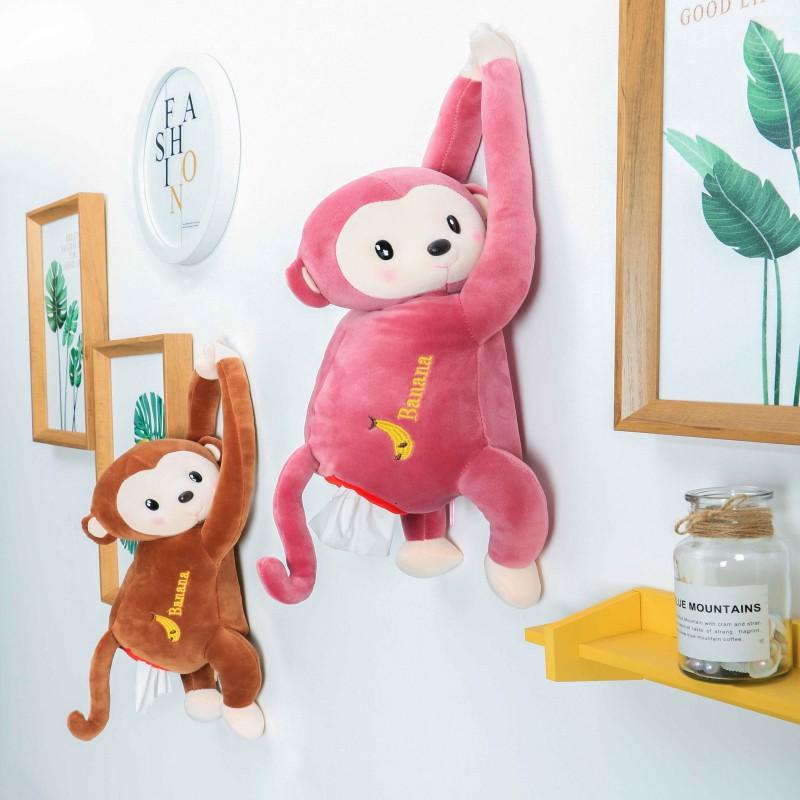 猴子纸巾盒车内居家多用可挂环抱好玩趣味抽纸盒