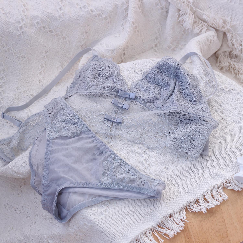 高级灰文胸套装超薄无钢圈性感蕾丝睡眠内衣内裤半透明bralette