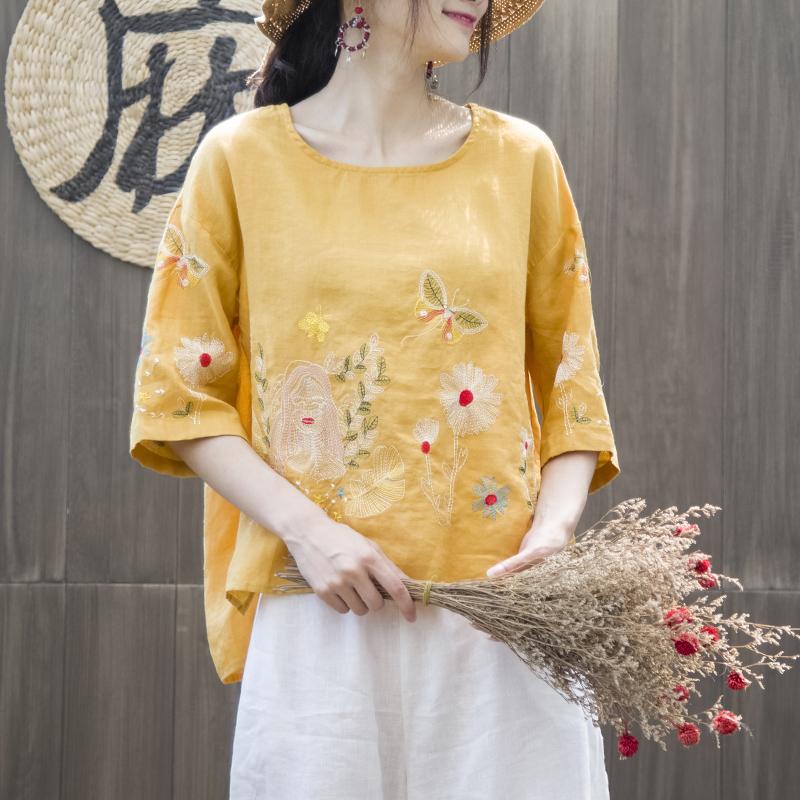 陋室町 夏季柔软棉麻蝴蝶刺绣花宽松短袖T恤上衣女前短后长罩衫