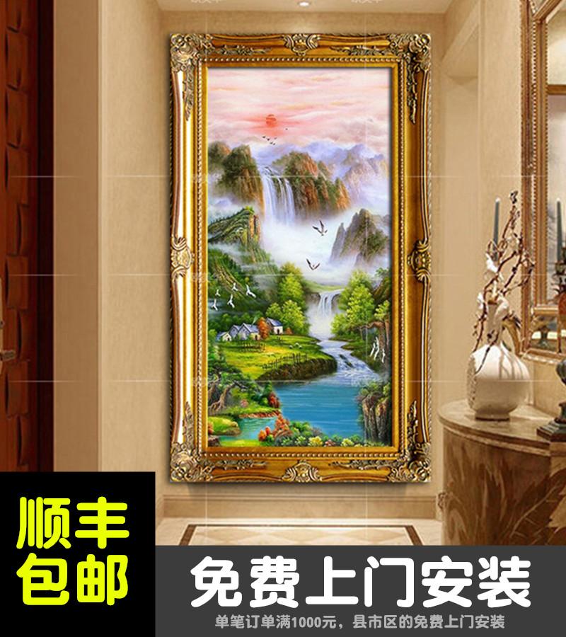 中欧式风格定制竖版画手绘风水聚宝盆山水景旭日东升玄关走廊油画