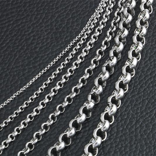 不锈钢魔戒链圆珍珠链钛钢男女项链锁骨链长款毛衣链吊坠配链裸链
