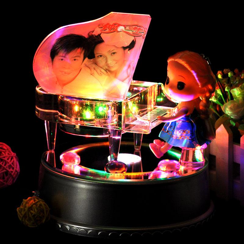 Кристалл пианино музыкальная шкатулка шанхай, пекин, тяньцзинь музыкальная шкатулка / дистанционное управление MP3 фото сделанный на заказ ребенок день святого валентина день рождения подарок