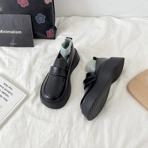 2021秋新款ins百搭厚底黑色小皮鞋女学院风软妹jk鞋日系松糕单鞋