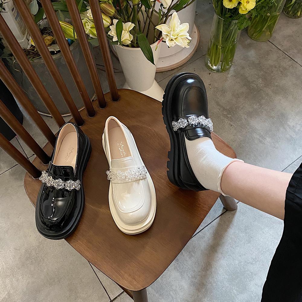 小皮鞋女英伦2021春季新款韩版时尚厚底乐福鞋原宿风水晶花朵单鞋