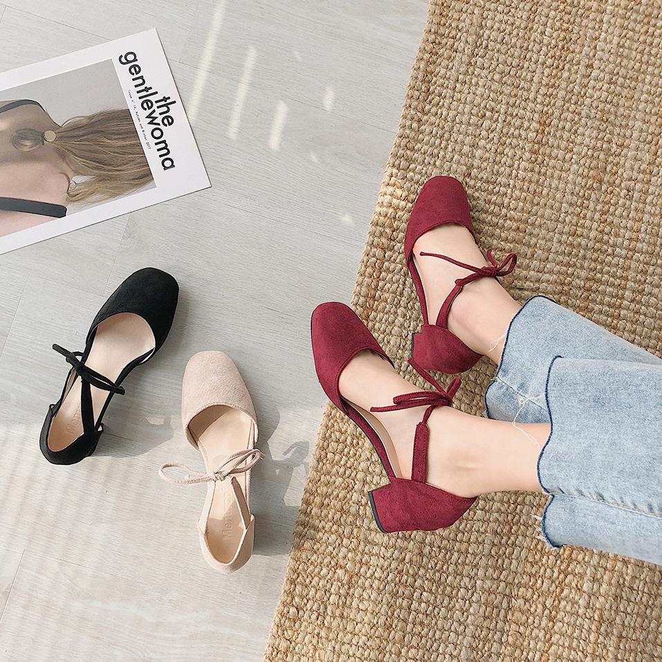 粗跟单鞋女2020夏新款仙女风韩版浅口方头绑带网红百搭高跟鞋凉鞋图片