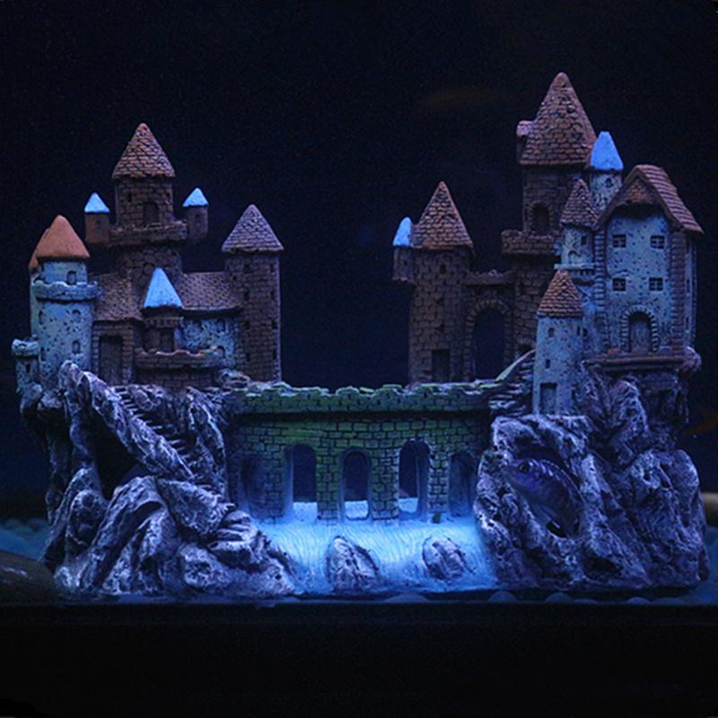 鱼缸装饰假山造景城堡别墅房子水族箱摆件童话式欧洲华丽大小古城