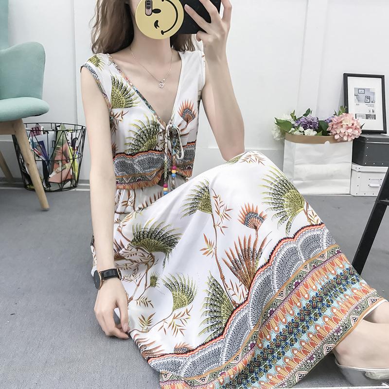 满78.00元可用1元优惠券棉绸连衣裙年轻款长裙2019年新款套装女外穿20岁沙滩裙海边度假潮