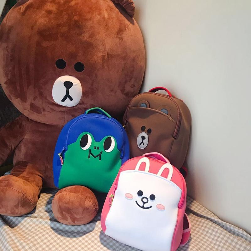 幼儿园儿童书包潜水面料布朗熊双肩背包儿童包包大班书包