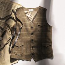 秋冬款人字纹复古男士西装马甲粗花呢欧美咔叽英伦大码保暖背心潮