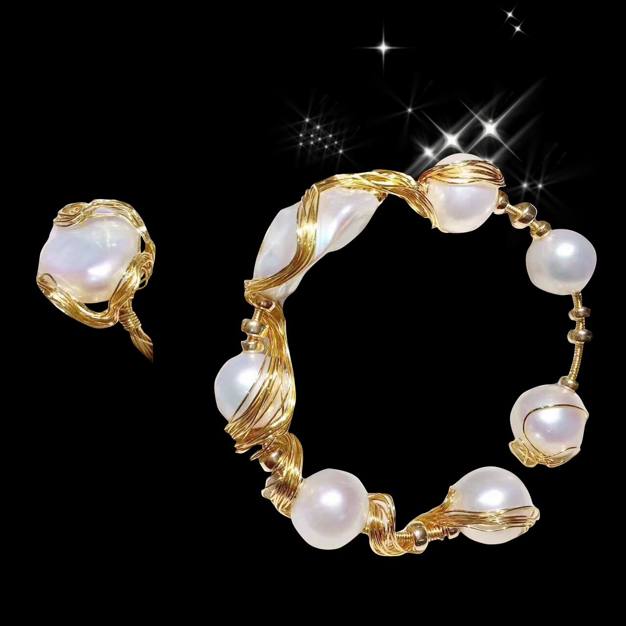Original design pure handmade 9K GOLD thread wrapped natural freshwater pearl bracelet B private customized
