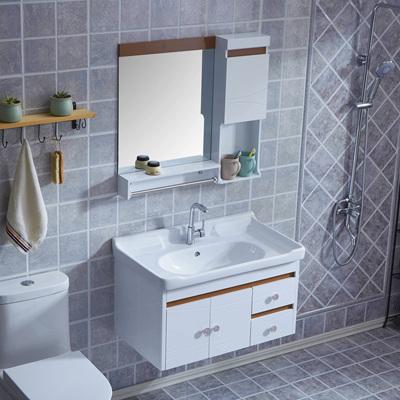 卫浴pvc浴室柜现代简约镜柜洗脸盆洗手盆柜组合卫生间洗漱台吊柜