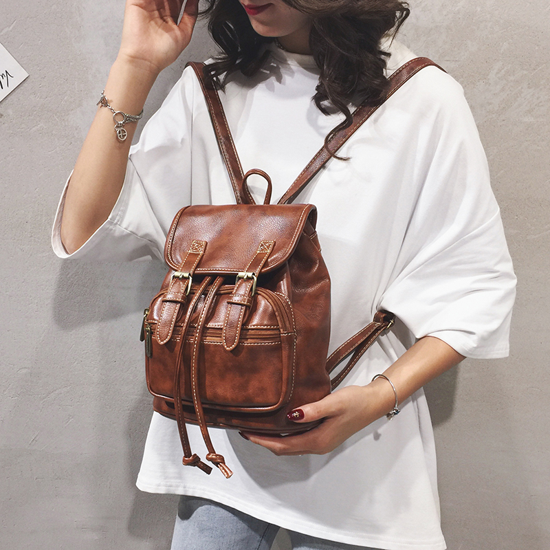 2019 hot selling Mori womens bag Korean version with retro Mini Backpack casual PU leather back bag