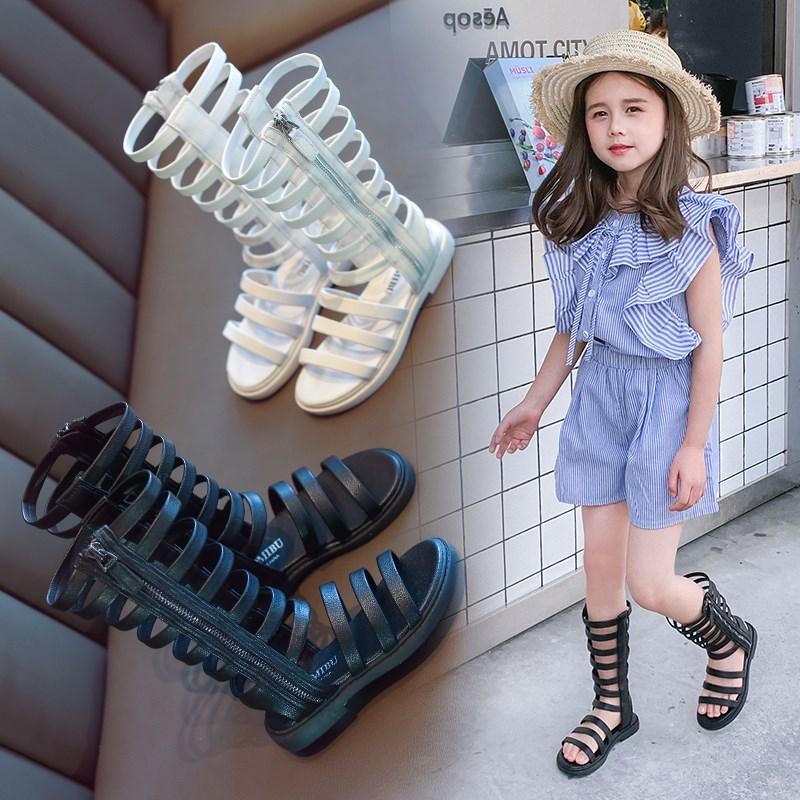 女童凉鞋夏2019新款童鞋儿童软底时尚公主鞋小女孩真皮露趾罗马鞋