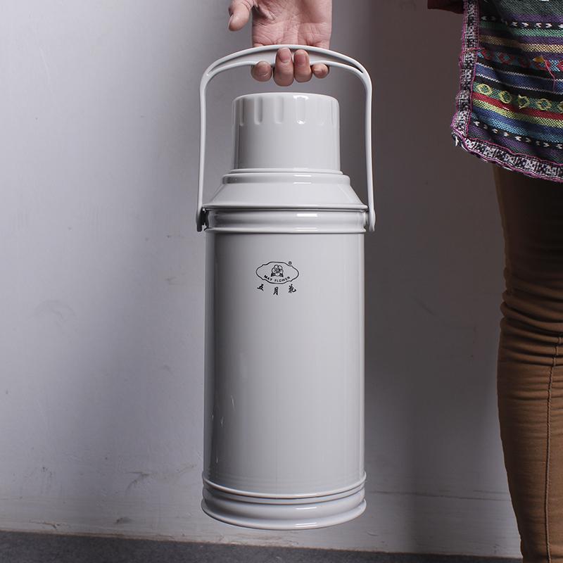 五月花熱水瓶保溫壺家用木塞保溫瓶玻璃3.2L大容量暖水壺