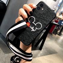 苹果11蚕丝手机壳iphone11 pro max刺绣米老鼠挂绳硅胶套保护壳软