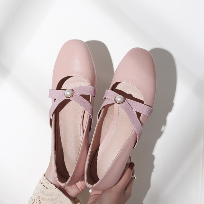 纯皮单鞋女仙女鞋温柔小高跟玛丽珍小皮鞋真皮秋鞋女2019秋款中跟