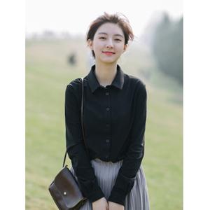 谧斯春款方领针织弹力衬衫女长袖黑色职业衬衣白色尖领修身打底衫