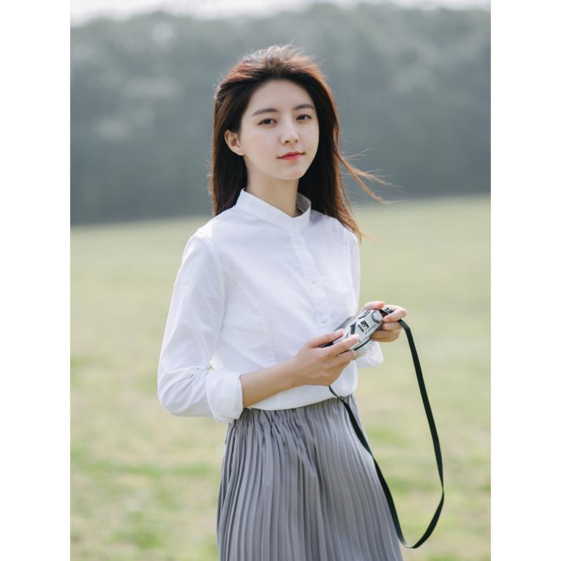长袖白色小立领衬衫女2020春款职业上衣女小清新修身气质休闲衬衣
