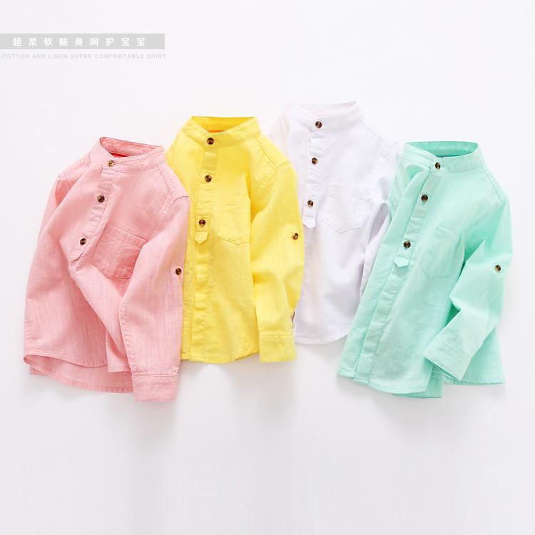 Мальчики длинные рукава рубашки детей сплошной цвет весной 2016 нового младенца ребенка пальто воротник хлопчатобумажную рубашку