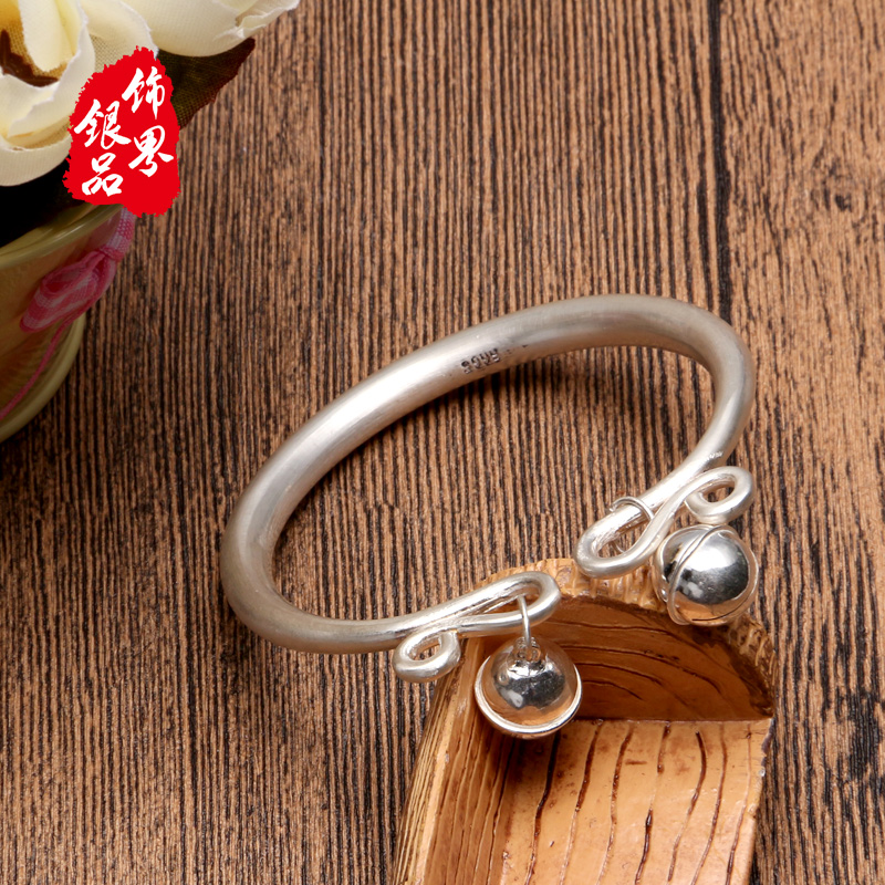 999 pure silver smooth Bracelet womens thousand foot solid mouth palace bell ancient Silver Bracelet Silver Anklet hand-made