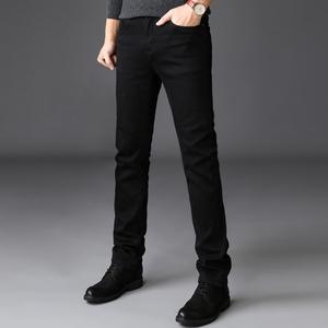 秋季商务超高弹力黑色牛仔裤男弹性时尚修身小脚长裤子潮大码男装