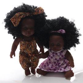 正版搪胶仿真婴儿黑皮肤洋娃娃公仔换装玩偶儿童洗澡玩具女孩玩偶