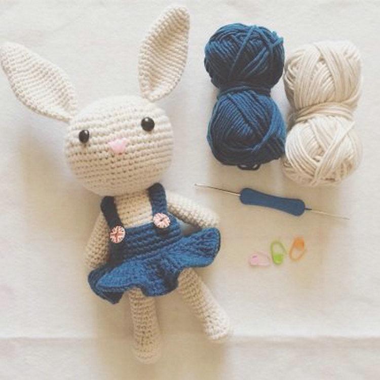 鉤針diy材料包毛線手工編織玩偶娃娃情侶兔子自制針織5股牛奶棉線