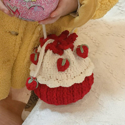 Strawberry cake bag hand-woven diy material bag crochet icicle line homemade net red the same baby gift