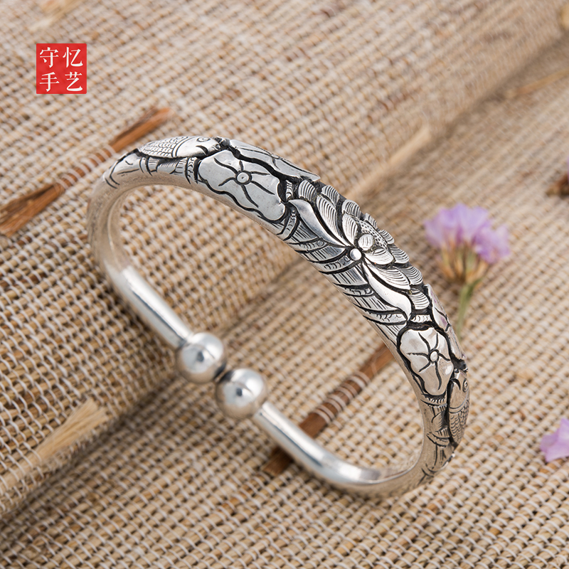 Shouyi Pisces playing lotus garlic silver bracelet 99 Sterling Silver Handmade womens silver bracelet parent-child silver jewelry for girlfriend