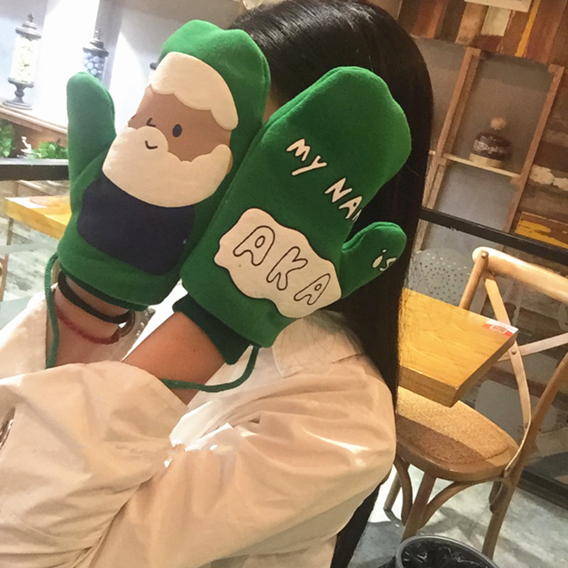 Gloves female Japanese department winter cute cartoon dormitories ulzzang students warm Plush hanging neck soft sister Mittens