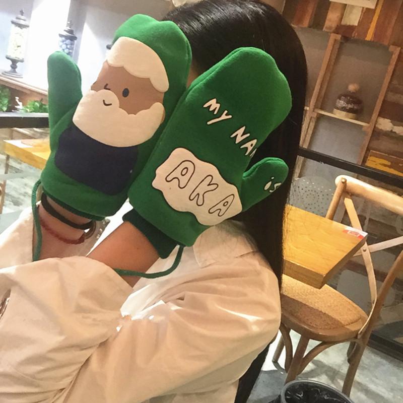 Gloves female Japanese winter cute cartoon Harajuku ulzzang student warm Plush Neck soft girl Mittens