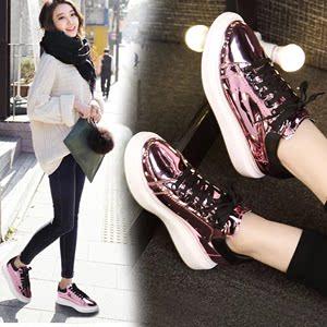 2020新春款韩版镜面板鞋女漆皮亮面厚底松糕运动休闲女鞋亮皮单鞋