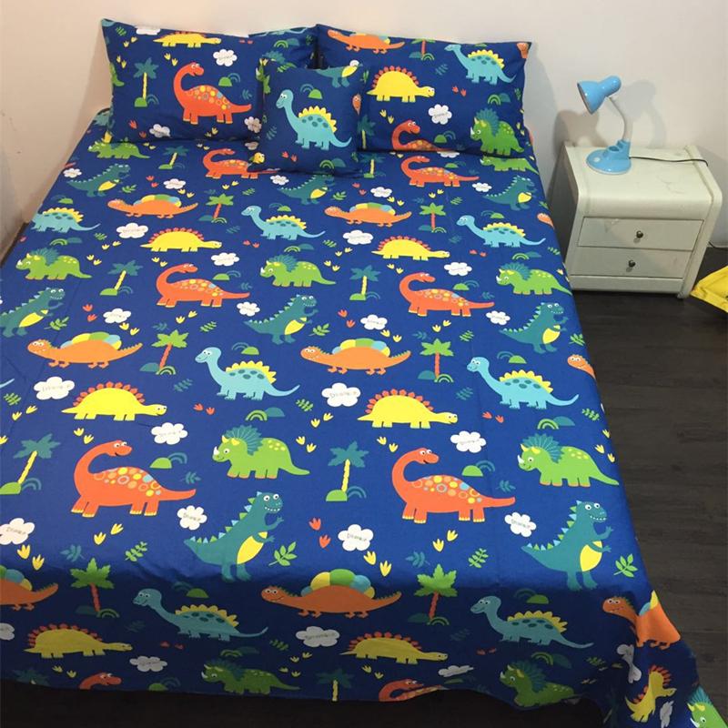 定做儿童被单纯棉恐龙图案床单单件学生宿舍动物卡通全棉床单定制限时抢购