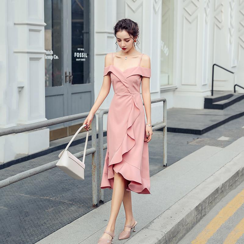 2020 summer new French Strapless off shoulder medium length skirt slim Ruffle sexy dress dress