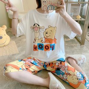 夏季睡衣女短袖七分裤甜美休闲卡通韩版家居服