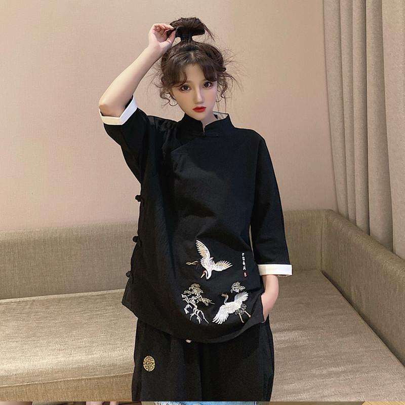 汉服女改良旗袍上衣唐装中国风复古中式套装夏季茶服元素古风女装