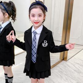 女童外套2020洋气韩版西服春秋装中大童小西装黑色套装儿童西装女图片