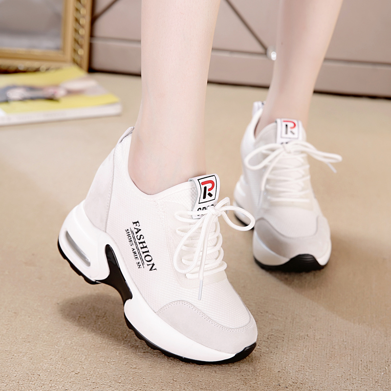 内增高跟春天穿的小白鞋搭配秋季长裙裙子运动女鞋子女装百搭波鞋