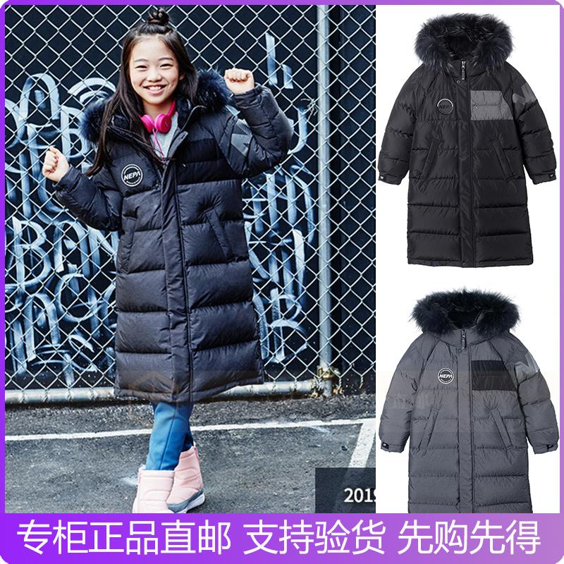 NEPA 韩国代购18冬儿童户外连帽可拆卸毛领鹅绒中长羽绒服KF72008