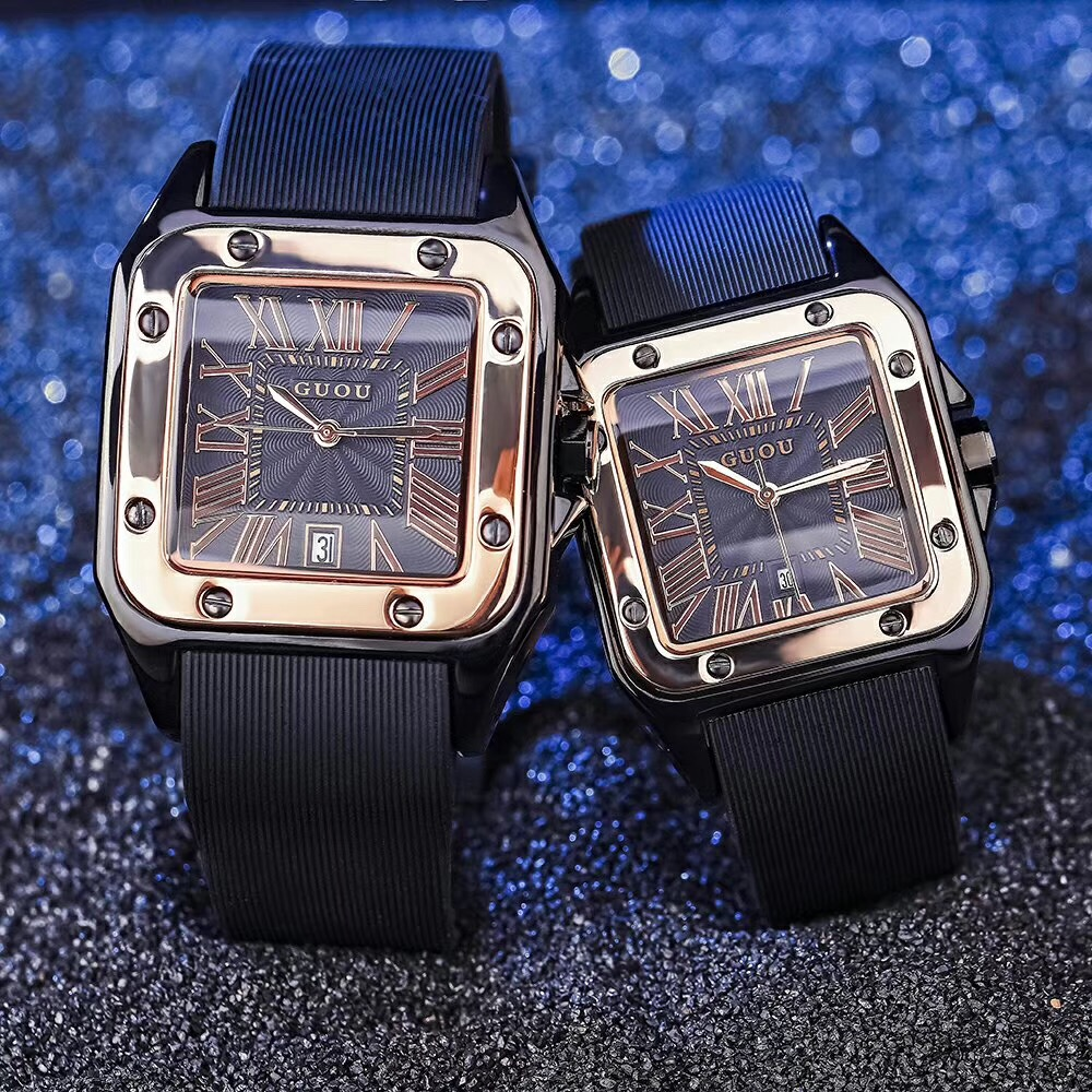 2018 ancient European fashion trend mens new watch retro square large dial silicone waterproof student female Watch