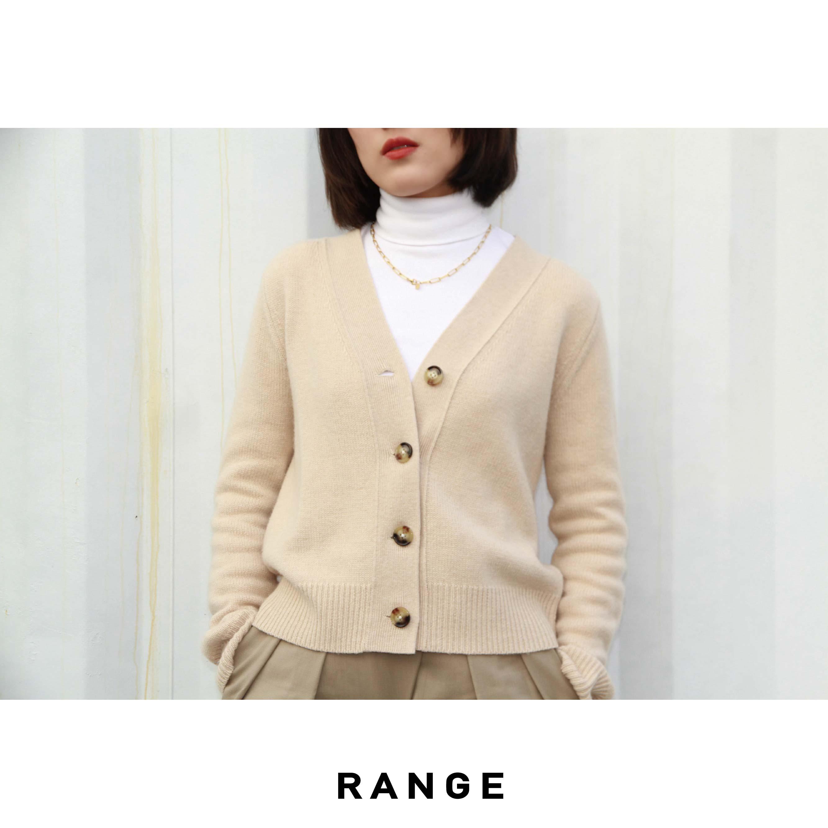 Range cashmere spring cardigan female V-neck designer long sleeve advanced minimalist temperament oatmeal white sweater