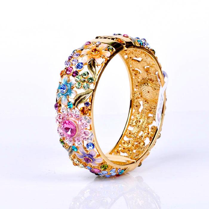 3,057 XI ослепить Пекин, позолоченные перегородчатой браслет женщин ювелирные изделия подарочная двухсторонняя дрель круг кристалл
