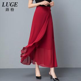 一片式系带长裙垂感雪纺女夏半身裙