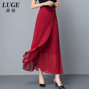 2019新款一片式系带长裙垂感雪纺半身裙女夏显瘦裹裙气质chic裙子